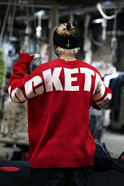 Rocketman Lettering Loose Fit Knit Sweater